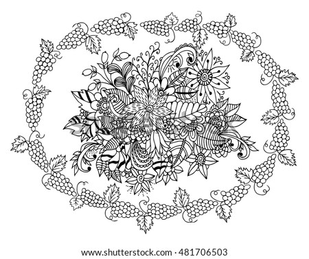 Vector Illustration Zentangl Ornament Flowers Coloring