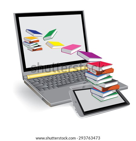 Vector Image, books fly out of the tablet and fly into the laptop.