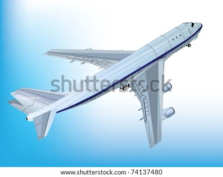 Vector Image. Flying jet airplane.