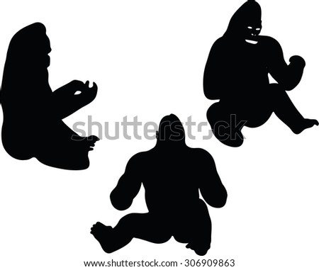 Set Sitting Boys Silho...