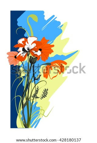 Vector image of a bouquet of blooming poppies