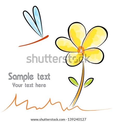 ... image of an flower and dragonfly on white background - stock vector