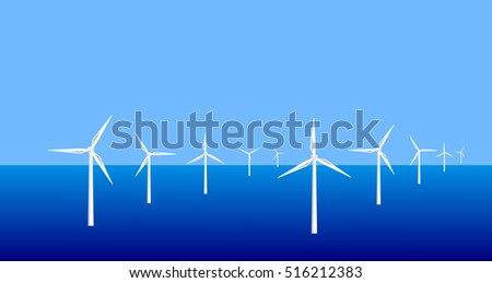 Vector image of an offshore wind farm
