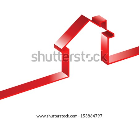 vector image of 3d ribbon house