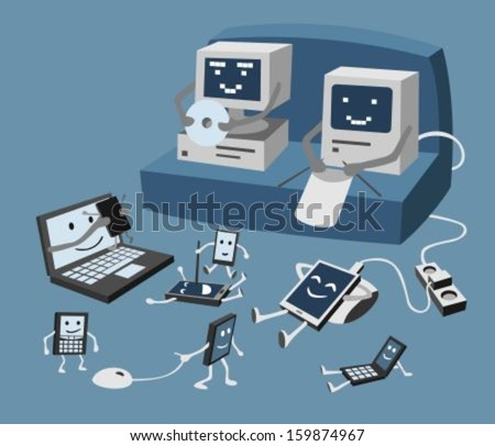 Vector image of family of computers (and mobile devices). It is possible to use each object separately.