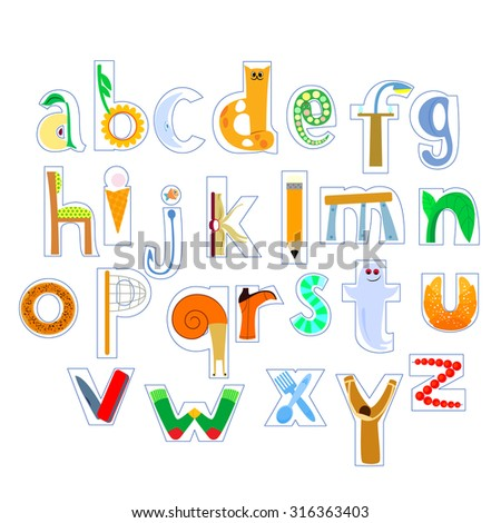 vector image of letters of the alphabet, initial letters, drawings all