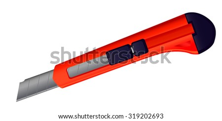 vector image of office supplies knife, chopper