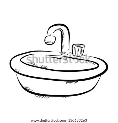 vector image of sink in bathroom  drawing style. Child Bath Vintage Illustration Die Frau Stock Vector 100257509