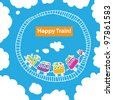 Vector image of the children's railway in the sky. / Childhood dream. - stock vector