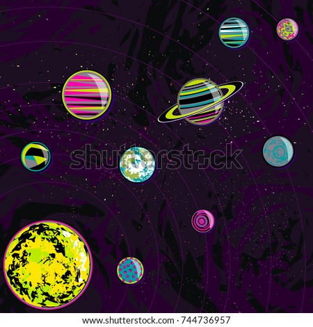 Seamless Pattern Ufos Fantastic Planets Vector Stock ...