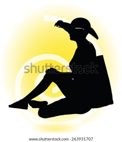 Vector Image -  Tourist woman silhouette with handbag and sunglasses