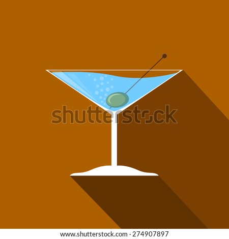 vector image white cocktail martini and olives