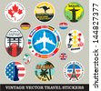 Vector images of vintage travel stickers - stock