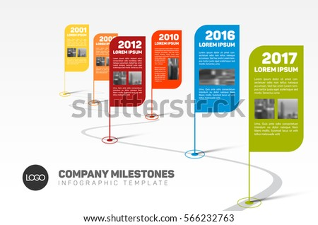 Vector Infographic Timeline Template Retro Pointers Stock Vector