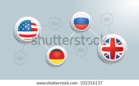 Vector infographic composition with flags.
