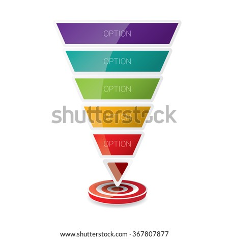 Vector infographic or web design template . vector Flat sales funnel