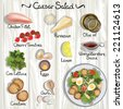 Vector ingredients for Caesar salad. Caesar salad. Vector illustration  - stock photo