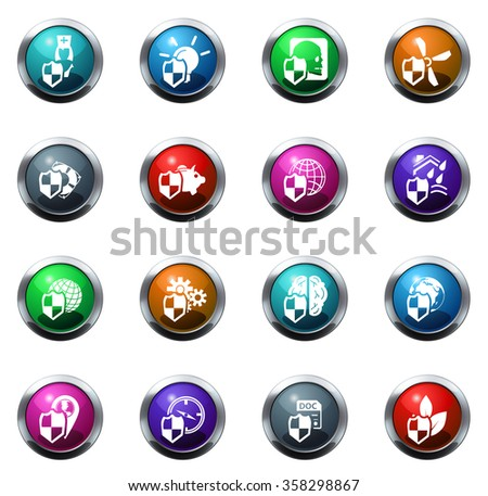 Vector insurance round glossy web icon set