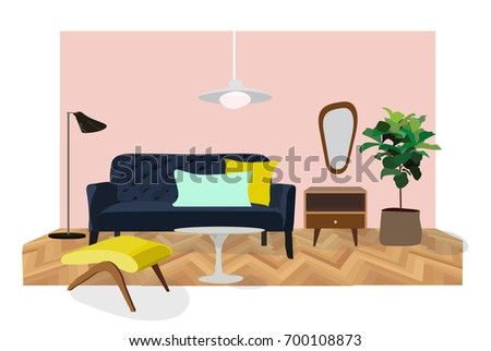 Elements Interior Living Room Furniture Vector Stock Vector ...