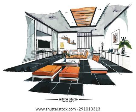 interior perspective sketch design watercolor sketching stock