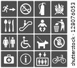 Vector International Service Signs icon set: exit wc cafe, information stop - stock vector