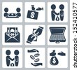 Vector isolated bribe/bargain icons set - stock photo