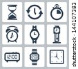 Vector isolated clocks icons set - stock vector