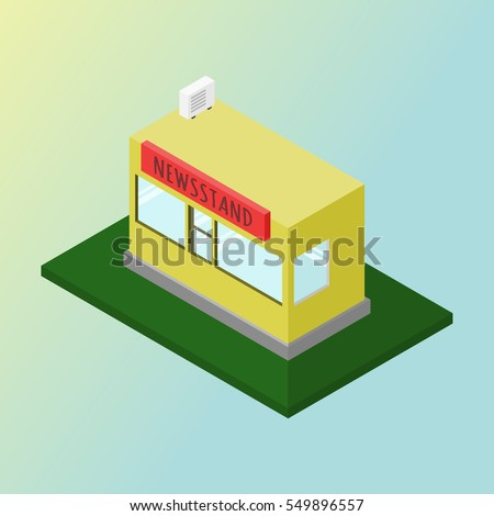 Vector isometric building. Newsstand magazine.