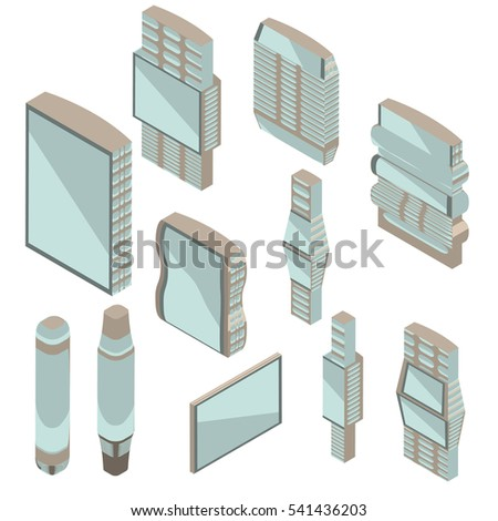 Vector isometric city skyscrapers,  buildings,House , for advertising ,displays on the houses ,the reflections on the skyscrapers billboards
