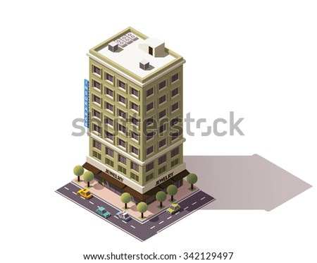 Vector isometric icon or infographic element representing low poly city office building