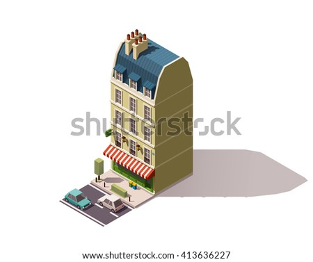 Vector isometric icon or infographic element representing old Paris (France) Creperie cafe or restaurant building with awnings, street, cars and tree