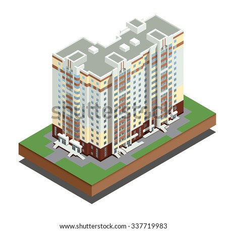 Vector isometric icon or infographic elements representing town apartment building and houses with street roads and cars for city map creation