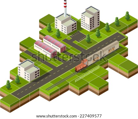 Vector isometric illustration of a factory with freight train