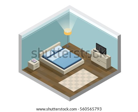 Vector isometric low poly living room stock vector for 3d bedroom drawing