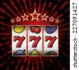 vector jackpot triple sevens at slot machine  - stock