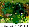 Vector Jungle background with Different Animals - stock vector
