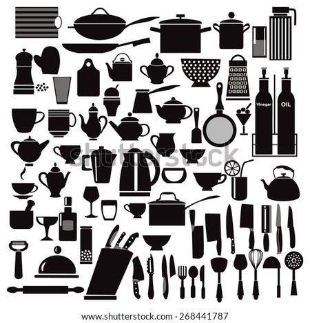 vector kitchen and restaurant icon kitchenware set - illustration
