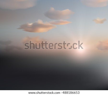 vector landscape. Sun and clouds in the sky. sunset