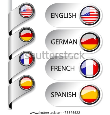 Vector language pointers with flag for web - set 1/5 - England, Germany, France, Spain