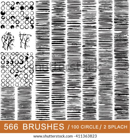 Vector large set of 566 different grunge brush strokes. 100 circle brush strokes. 2 splash ink.