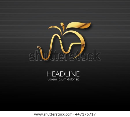 Vector leaf, golden apple and heartbeat medical monochromatic one. Abstract emblem, design concept, logo, logotype element for template.