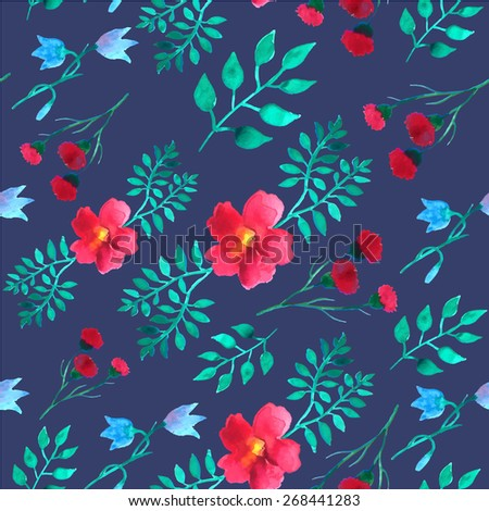 Vector leaves and flowers watercolor seamless background