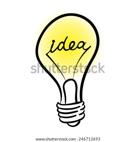 vector lighting bulb with IDEA hand lettering - vector idea concept