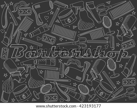 Vector line art Doodle set of cartoon characters and objects Barbershop. Hairdressing salon chalk