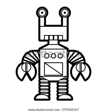 Vector Line Style Robot Isolated On White Background
