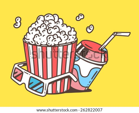 3d cartoon drawing board vector linear illustration pop corn juice stock vector 262822016
