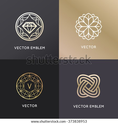 Vector Jewelry Signs Emblems Outline Trendy Stock Vector 200177195
