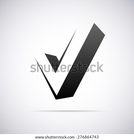 Vector logo for letter V in confirm sign shape