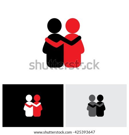 vector logo icon of friendship, dependence, empathy, bonding. this also represents concepts like responsibility, concern, care, together, sympathy, trust, faith, hope & expectation, assurance