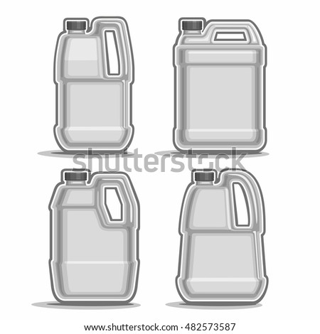 Vector logo monochrome canisters, consisting of 4 plastic grey container bottles with handles and black caps isolated closeup on white background.